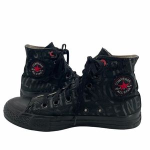 RARE Converse x (RED) Collaboration High Top Sneakers Solid Black Print 4 / 6